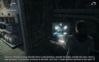 Alan Wake - Gameplay - A television screen showing Alan himself at the gas station