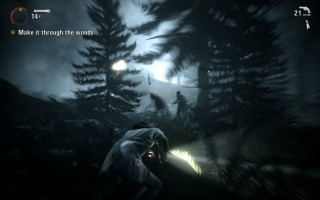 Alan Wake - Gameplay - Attacked by the Taken in the dark forest