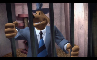 Sam & Max: Season 3 - The Penal Zone. Sam held prisoner by Skun-ka'pe