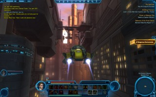 Star Wars: The Old Republic - Level 12 Gunslinger gameplay on Coruscant. Shuttle Taxi