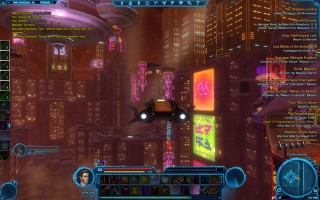 Star Wars: The Old Republic - Level 20 Gunslinger gameplay on Nar Shaddaa. Shuttle Taxi over The Promenade