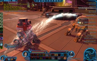 Star Wars: The Old Republic - Level 20 Gunslinger gameplay on Nar Shaddaa. The Promenade. Water spraying droids