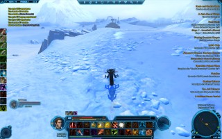 Star Wars: The Old Republic - Level 38 Gunslinger gameplay on planet Hoth. Speeder travel on Brightmirror Road