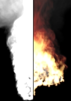 Image illustrating the effect of emission texture. It controls both emission strength and color.