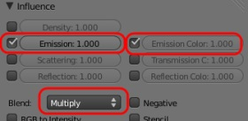 Emission texture settings.